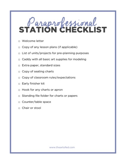 https://artofed-uploads.nyc3.digitaloceanspaces.com/2017/05/Paraprofessional-Station-Checklist-1-1.pdf