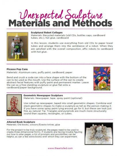 https://artofed-uploads.nyc3.digitaloceanspaces.com/2017/07/Unexpected-Sculpture-Materials-and-Methods.pdf
