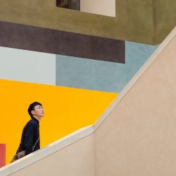 person on staircase
