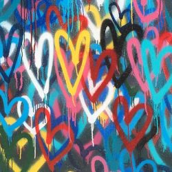 graffiti hearts on a wall