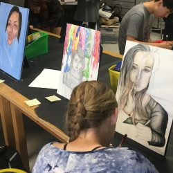 students observing work