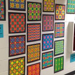 hallway display of art