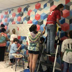 kids painting mural