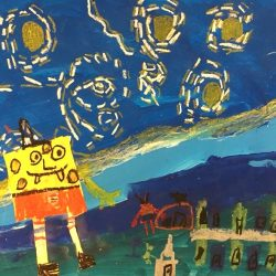 Image of student artwork with sponge bob