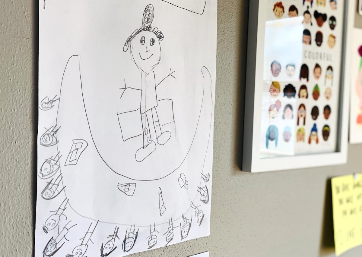 children's artwork on display
