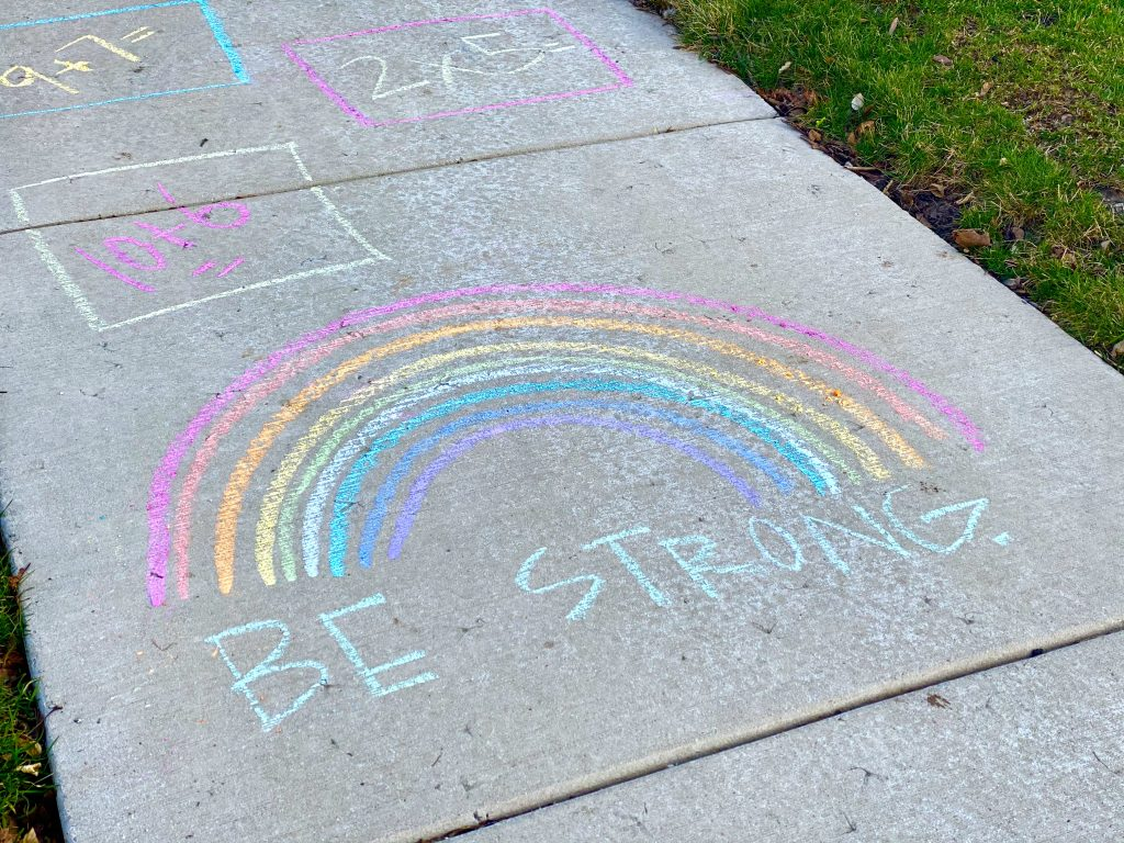 rainbow on sidewalk