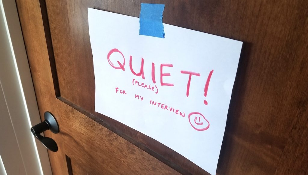 "door with sign saying ""quiet!"""