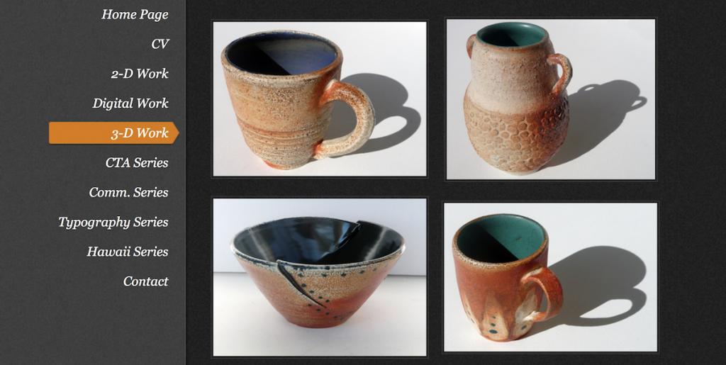 online portfolio showing ceramics