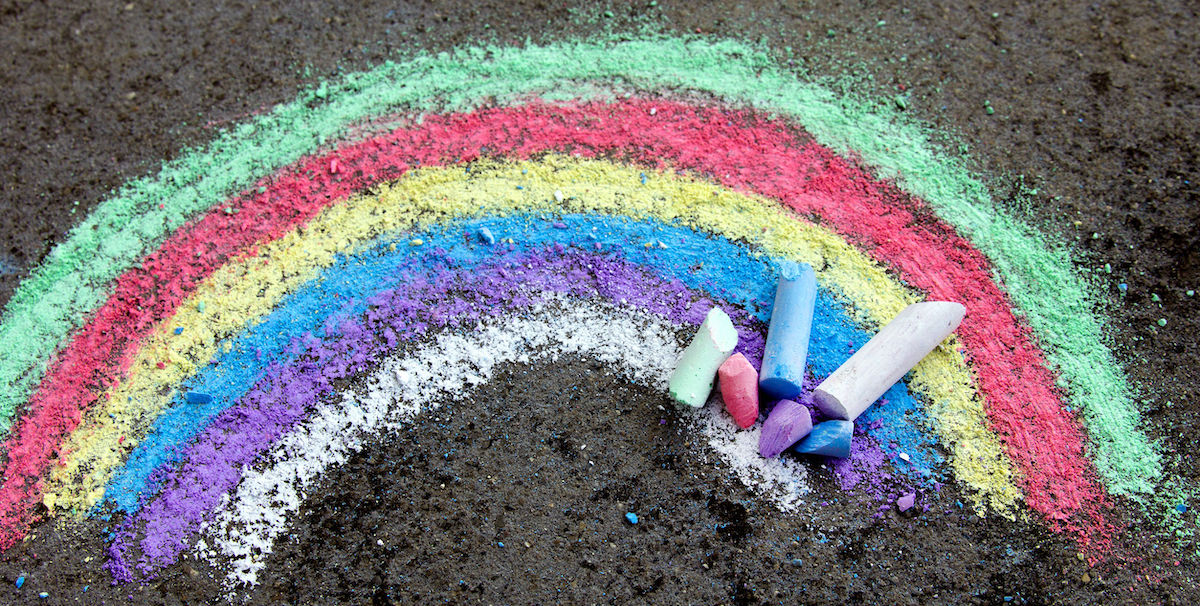 Rainbow chalk drawing