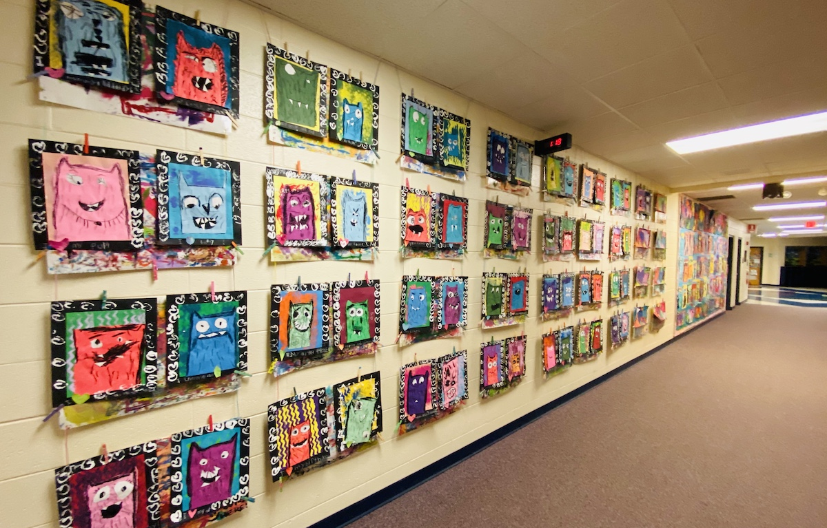 artwork on display in hallway