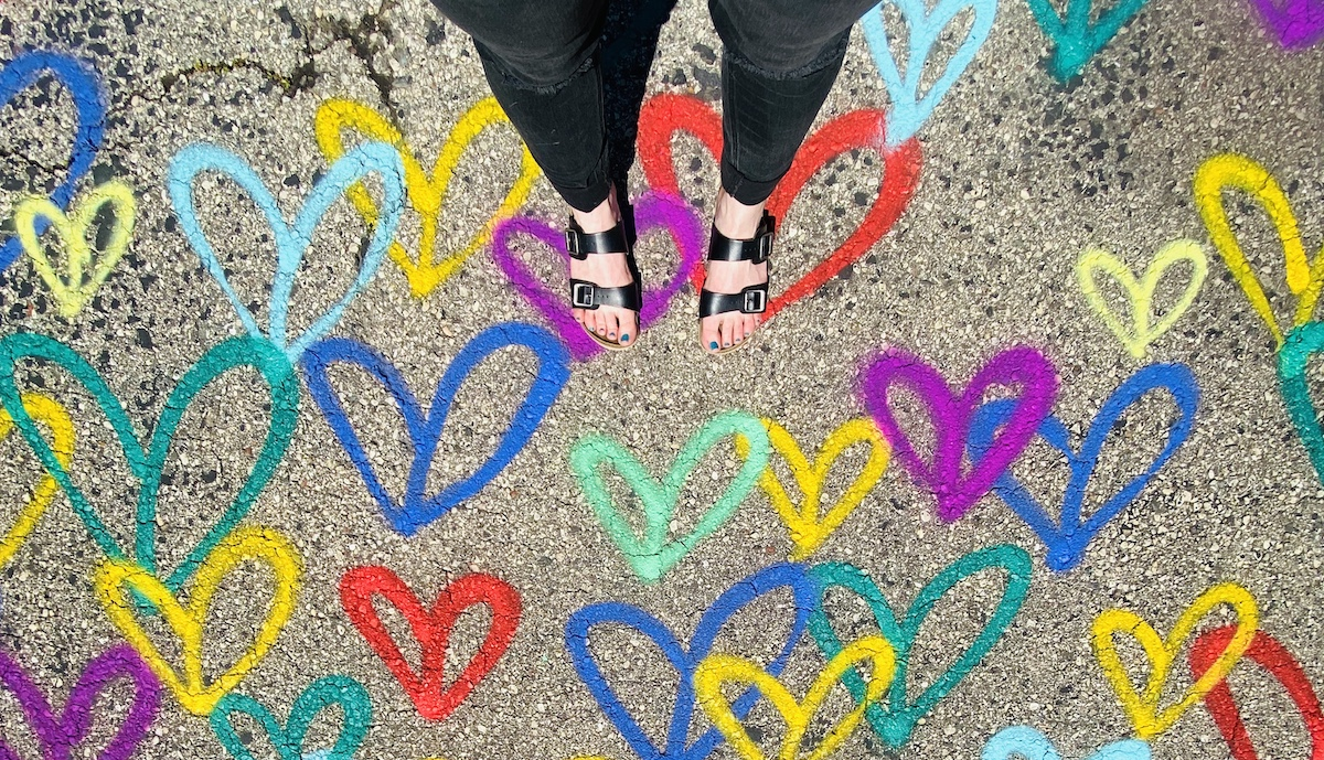 human feet and hearts