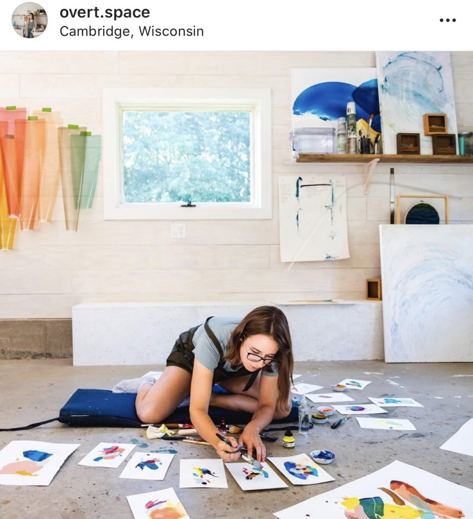 artist working in her studio