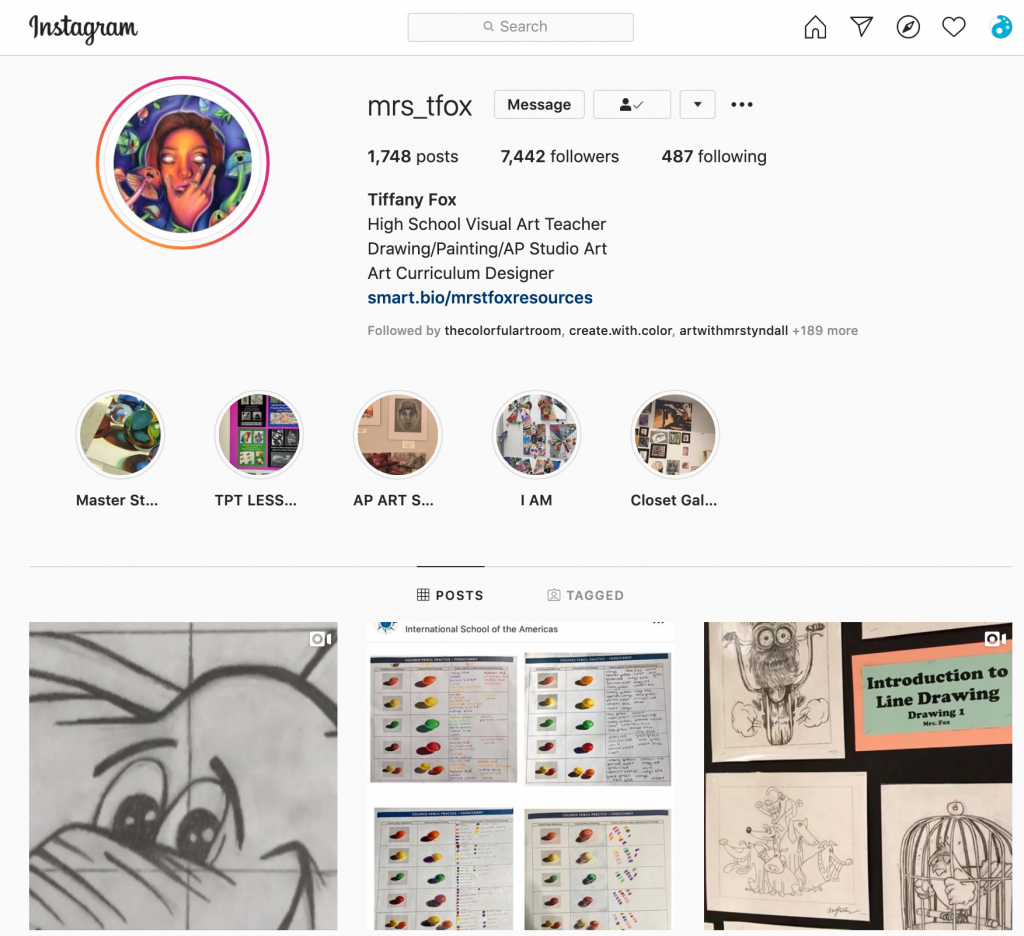 Instagram feed of @mrs_tfox
