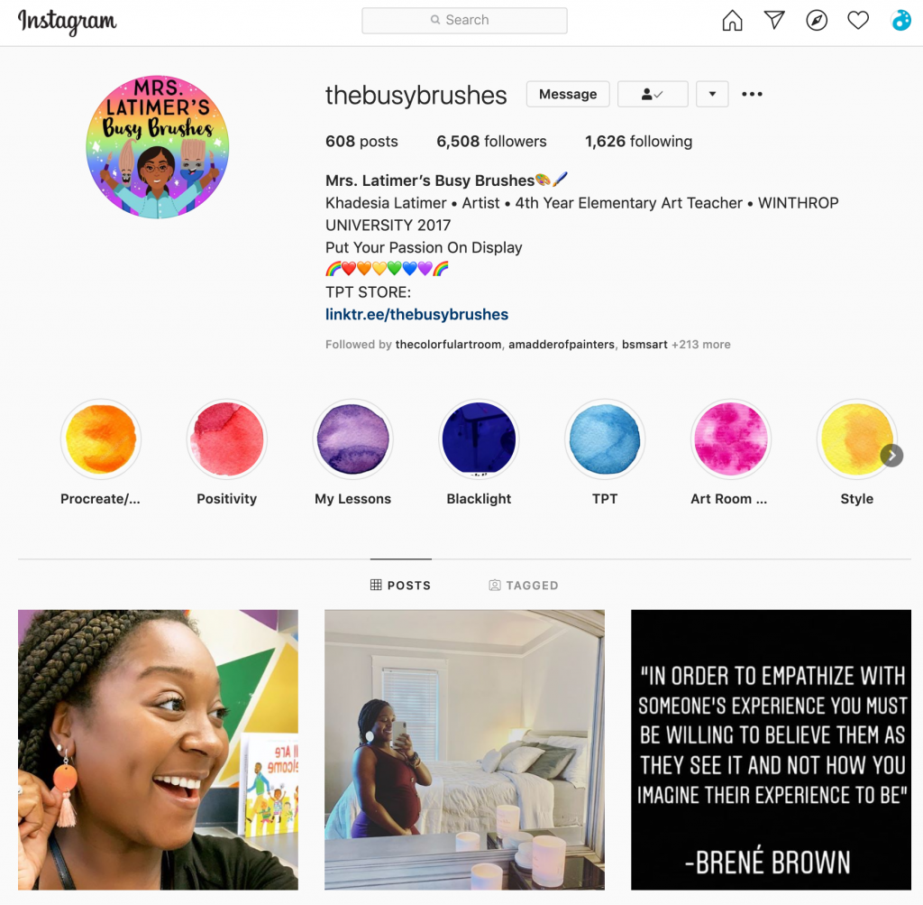 Instagram feed of @busybrushes