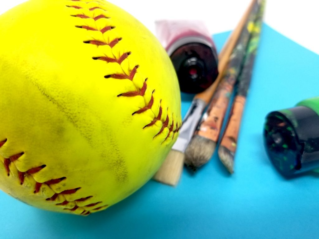 Baseball and paintbrushes