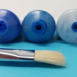 Blue paint tubes