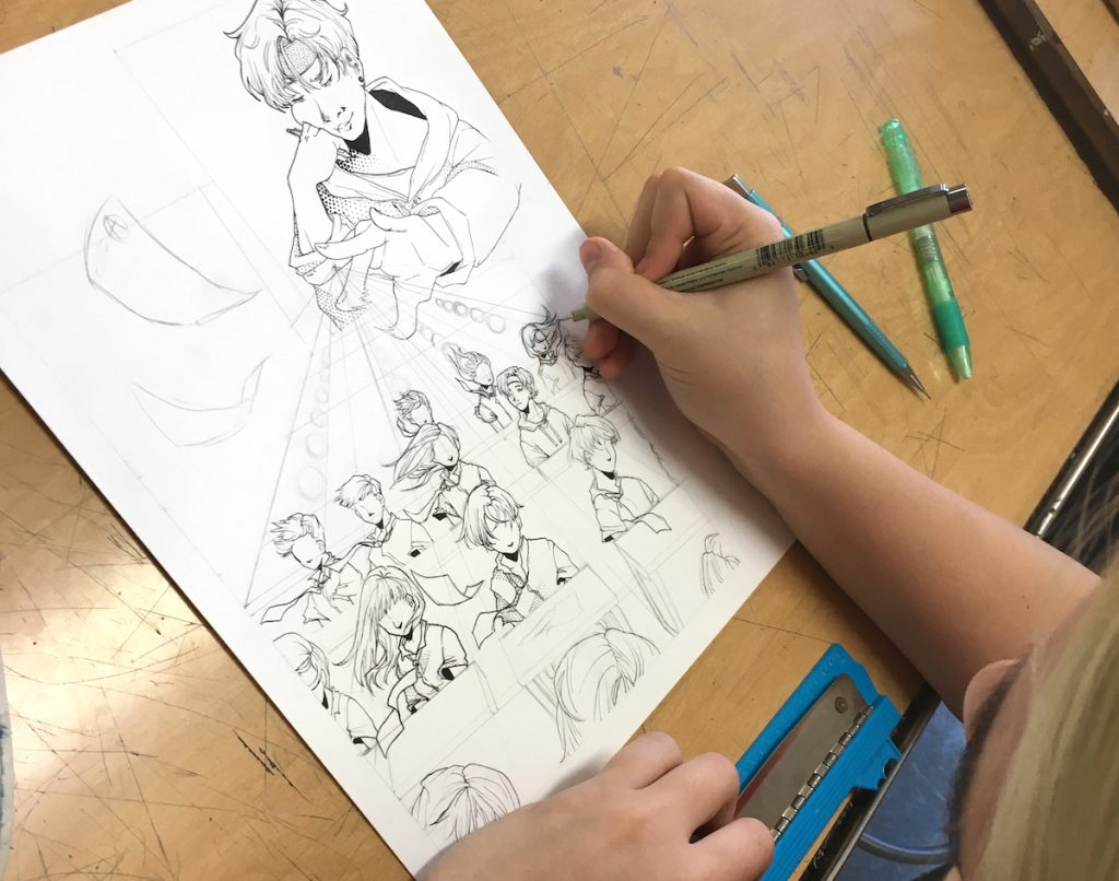 Student working on artwork
