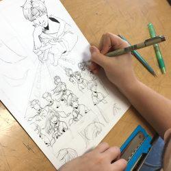 Student working on artwork