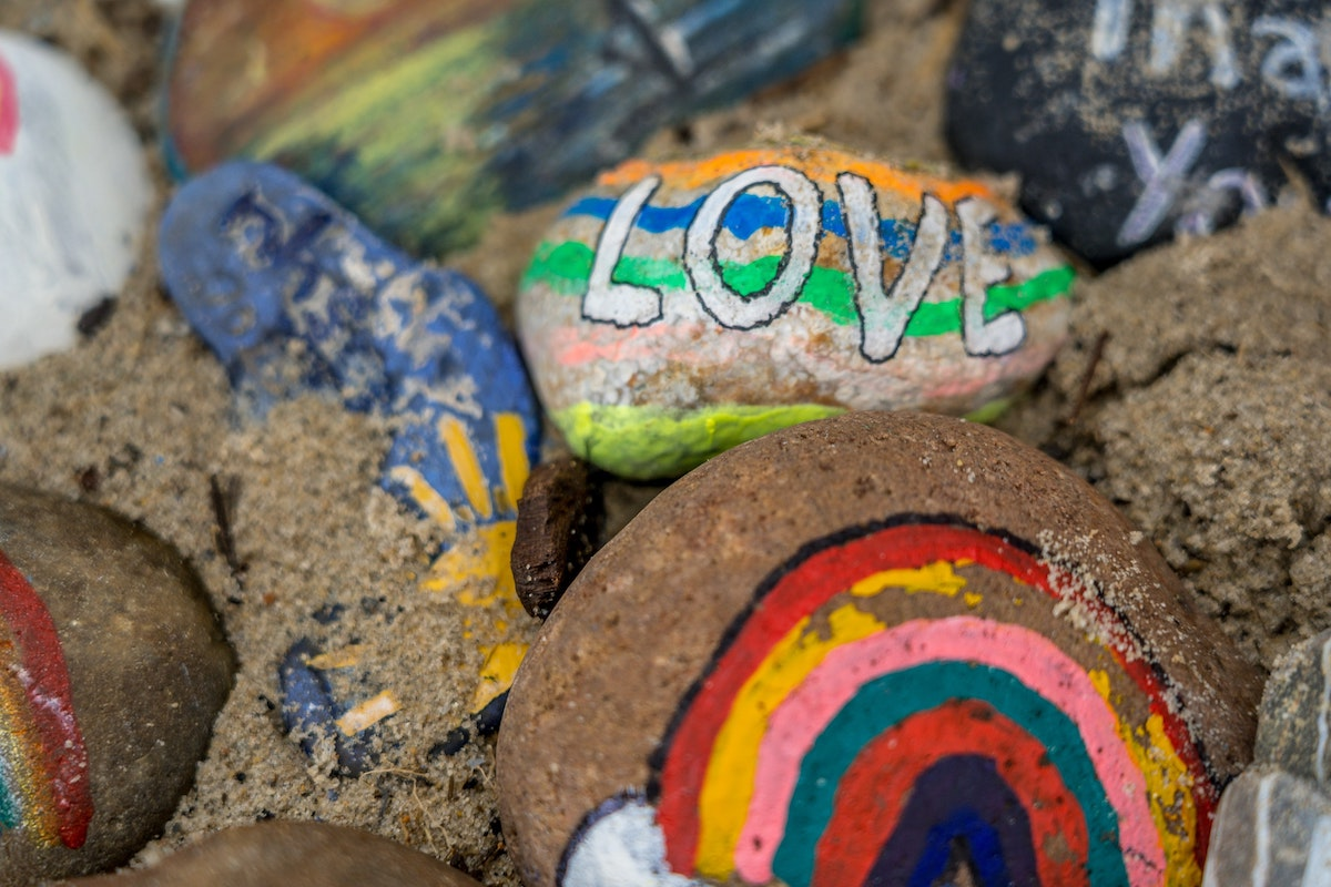 painted rocks with words and images