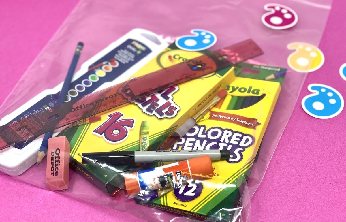 art kit with various supplies