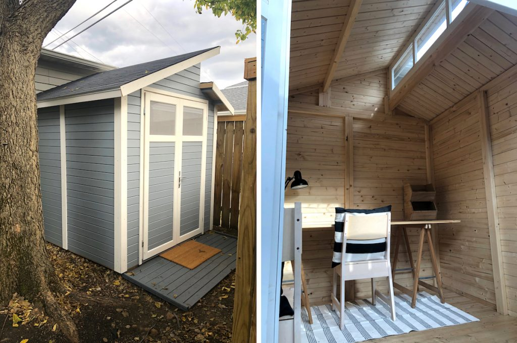 exterior and interior of shed