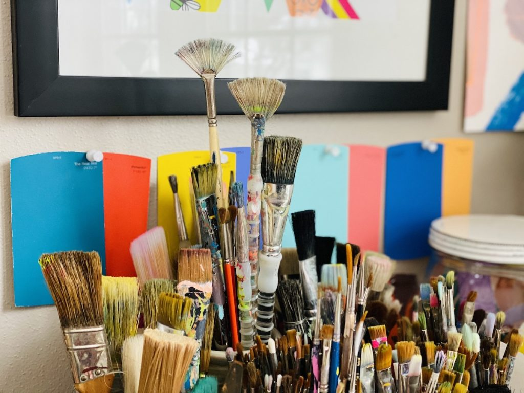 paintbrushes and supplies