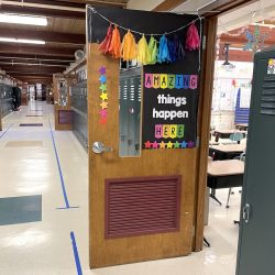 an open classroom door