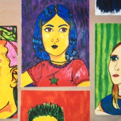 student created colorful self portraits