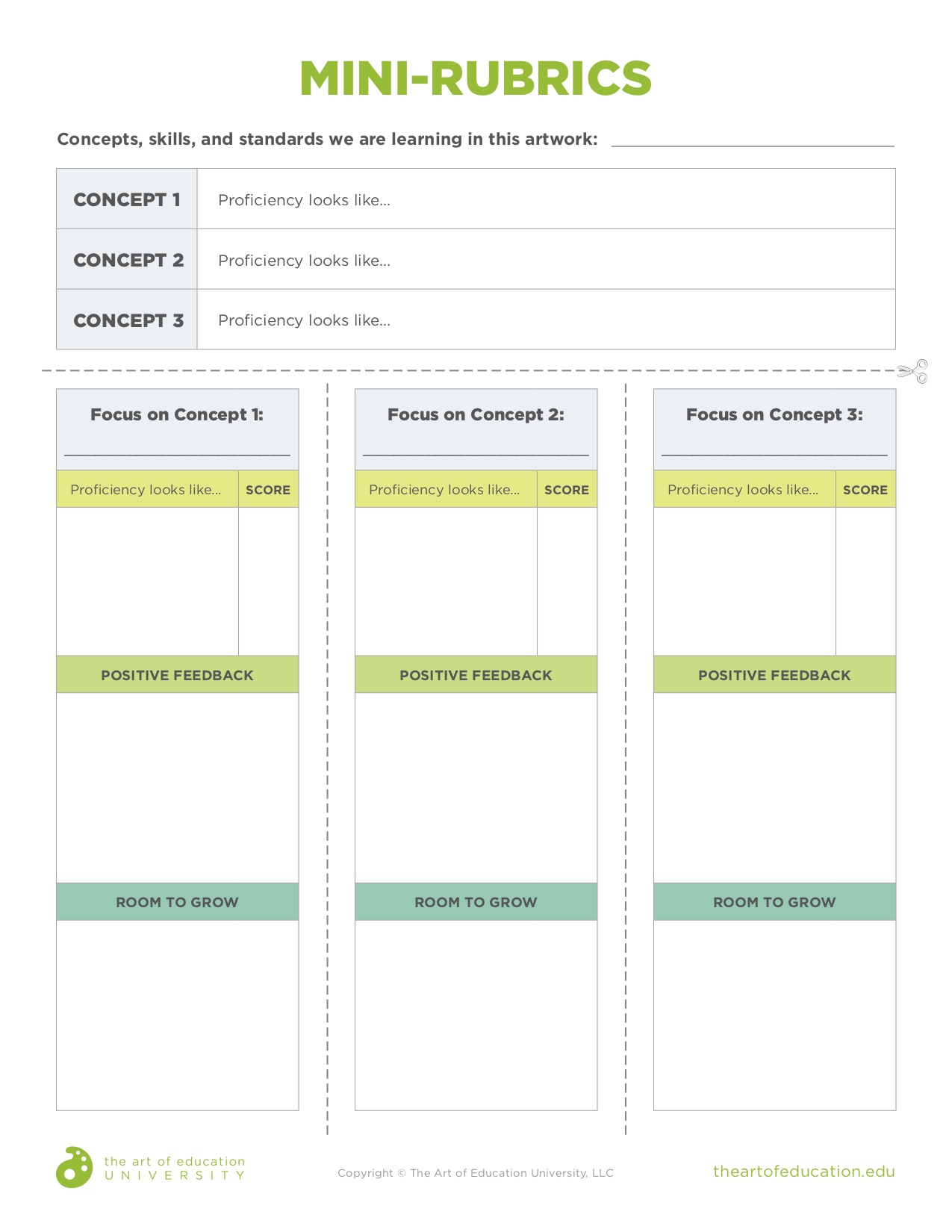 downloadable PDF with Mini-Rubric template