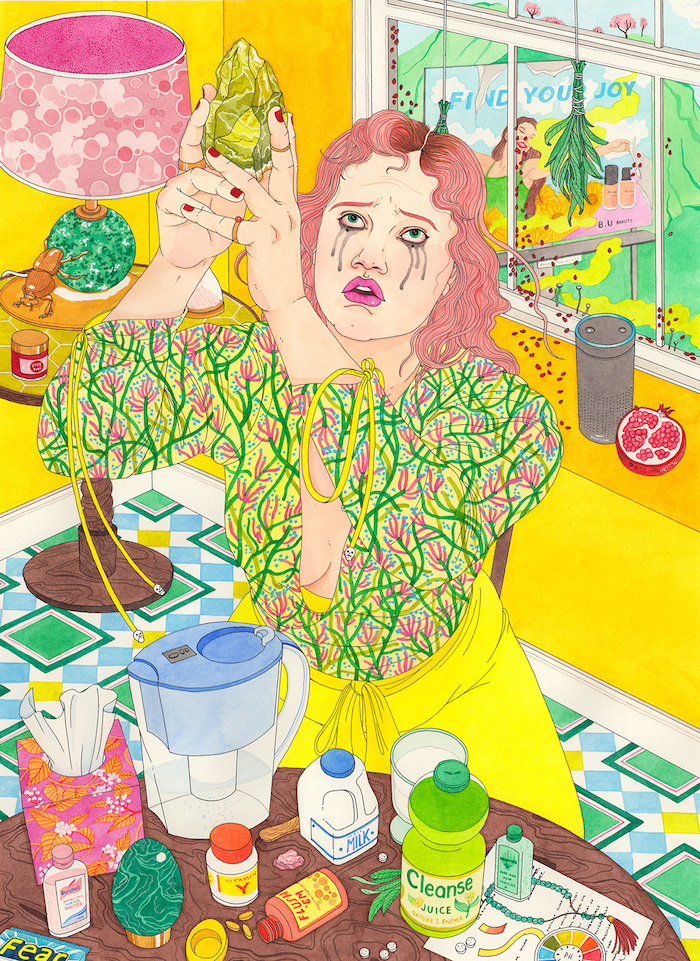 artwork of woman holding a vegetable