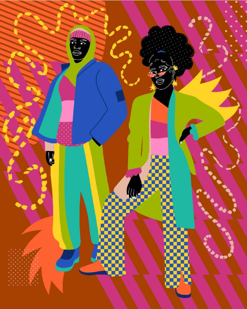 artwork of two figures in colorful clothes