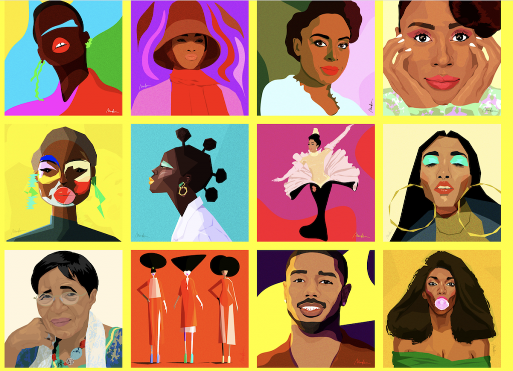 artwork with portraits in grid