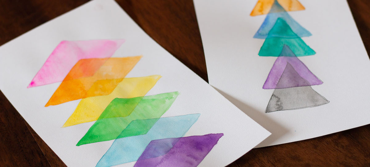 examples of transparent watercolor shape diagrams