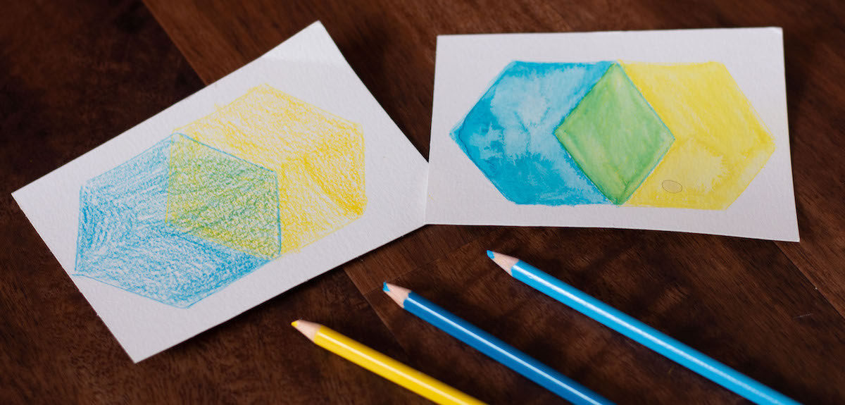 artworks with watercolor color pencil and shapes